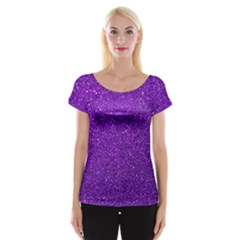 Purple  Glitter Cap Sleeve Tops