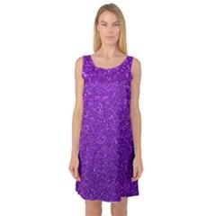 Purple  Glitter Sleeveless Satin Nightdress