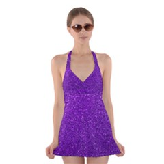 Purple  Glitter Halter Dress Swimsuit