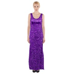 Purple  Glitter Maxi Thigh Split Dress