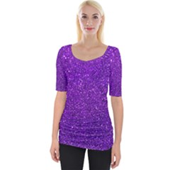 Purple  Glitter Wide Neckline Tee