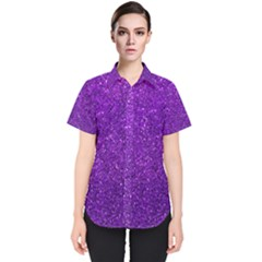 Purple  Glitter Women s Short Sleeve Shirt