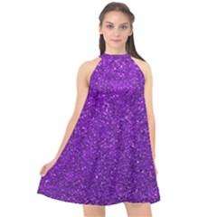 Purple  Glitter Halter Neckline Chiffon Dress