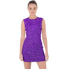 Purple  Glitter Lace Up Front Bodycon Dress