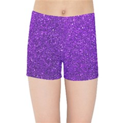 Purple  Glitter Kids Sports Shorts