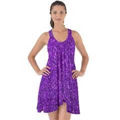 Purple  Glitter Show Some Back Chiffon Dress