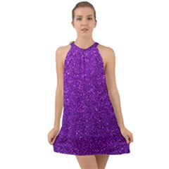 Purple  Glitter Halter Tie Back Chiffon Dress
