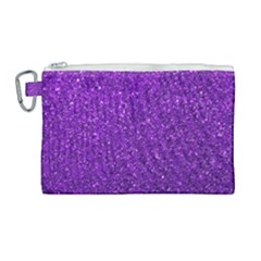 Purple  Glitter Canvas Cosmetic Bag (large)