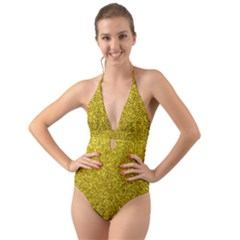 Gold  Glitter Halter Cut Out One Piece Swimsuit