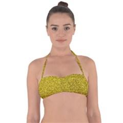 Gold  Glitter Halter Bandeau Bikini Top