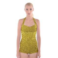 Gold  Glitter Boyleg Halter Swimsuit