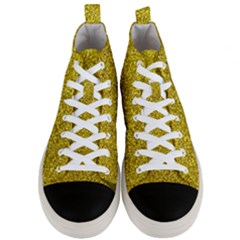 Gold  Glitter Men s Mid Top Canvas Sneakers