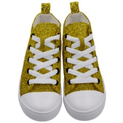 Gold  Glitter Kid s Mid Top Canvas Sneakers