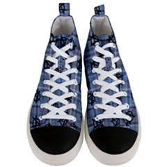 Blue  Plaid Anarchy Men s Mid Top Canvas Sneakers