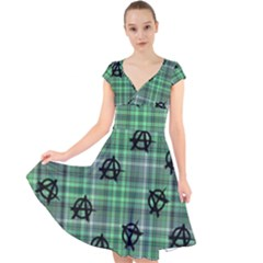 Green  Plaid Anarchy Cap Sleeve Front Wrap Midi Dress