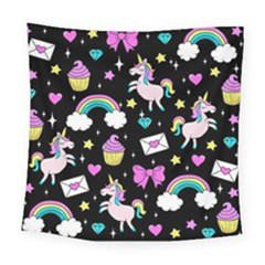 Cute Unicorn Pattern Square Tapestry (large)