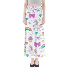 Cute Unicorn Pattern Full Length Maxi Skirt