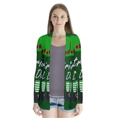 St Patricks Leprechaun Drape Collar Cardigan