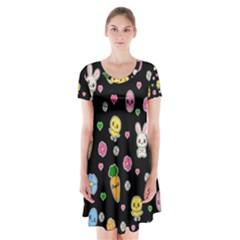 Easter Kawaii Pattern Short Sleeve V Neck Flare Dress