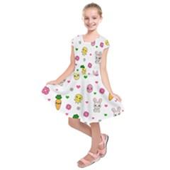 Easter Kawaii Pattern Kids  Short Sleeve Dress