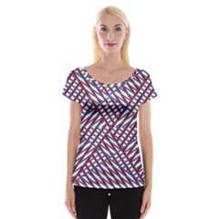 Abstract Chaos Confusion Cap Sleeve Tops