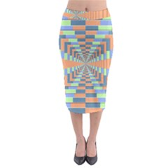 Fabric 3d Color Blocking Depth Midi Pencil Skirt