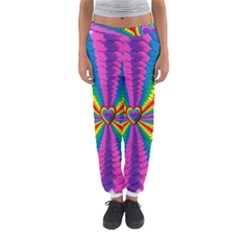 Rainbow Hearts 3d Depth Radiating Women s Jogger Sweatpants