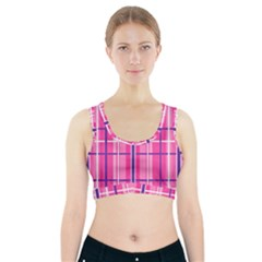 Gingham Hot Pink Navy White Sports Bra With Pocket