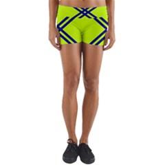 Stripes Angular Diagonal Lime Green Yoga Shorts
