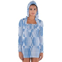 Blue Monochrome Geometric Design Long Sleeve Hooded T Shirt