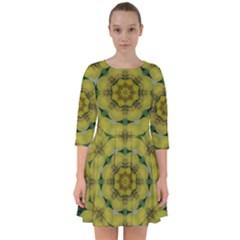 Fantasy Plumeria Decorative Real And Mandala Smock Dress