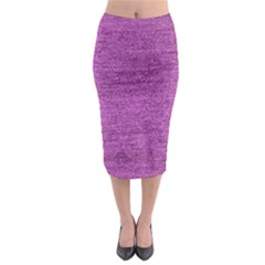 Purple Denim Midi Pencil Skirt