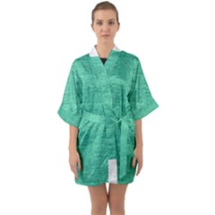 Green Denim Quarter Sleeve Kimono Robe