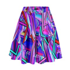Stars Beveled 3d Abstract Stripes High Waist Skirt