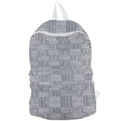 Texture Wood Grain Grey Gray Foldable Lightweight Backpack