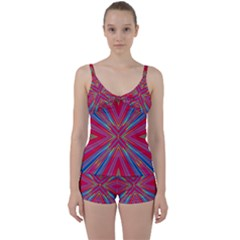 Burst Radiate Glow Vivid Colorful Tie Front Two Piece Tankini
