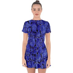 Neon Abstract Cobalt Blue Wood Drop Hem Mini Chiffon Dress