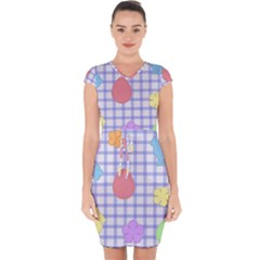 Easter Patches  Capsleeve Drawstring Dress