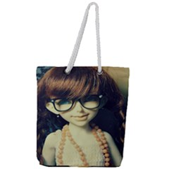 Red Braids Girl Old Full Print Rope Handle Tote (large)