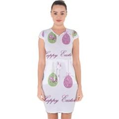 Easter Eggs Capsleeve Drawstring Dress