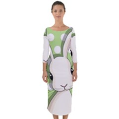 Easter Bunny  Quarter Sleeve Midi Bodycon Dress
