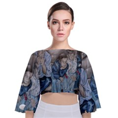 The Nobodies Tie Back Butterfly Sleeve Chiffon Top