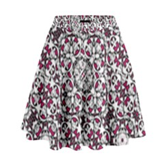 Boho Bold Vibrant Ornate Pattern High Waist Skirt