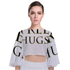 Freehugs Tie Back Butterfly Sleeve Chiffon Top