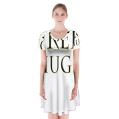 Freehugs Short Sleeve V Neck Flare Dress