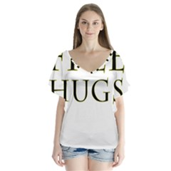 Freehugs V Neck Flutter Sleeve Top