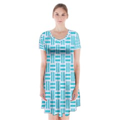 Woven1 White Marble & Turquoise Colored Pencil (r) Short Sleeve V Neck Flare Dress