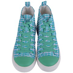 Woven1 White Marble & Turquoise Colored Pencil (r) Women s Mid Top Canvas Sneakers