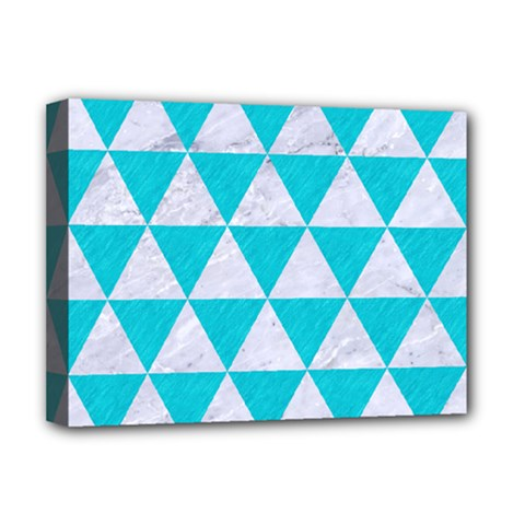 Triangle3 White Marble & Turquoise Colored Pencil Deluxe Canvas 16  X 12
