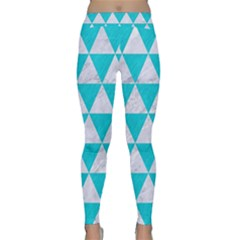 Triangle3 White Marble & Turquoise Colored Pencil Classic Yoga Leggings